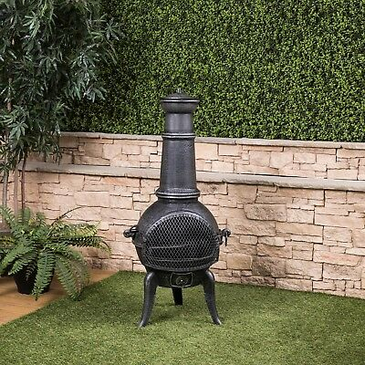 109cm Cast Iron Chiminea M with Barbecue Grill Madrid by Fire Mountain
