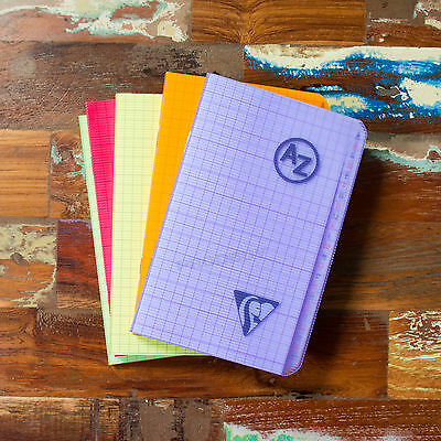 Pocket A-Z Tab 5/5 Square Grid 96 Page Index Book Paper Neon Notebook Organiser