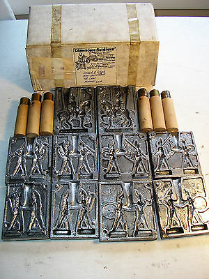Vintage Set of 5 Toy Lead Soldier Molds w/ Box: German Marching Band, Horse - EX