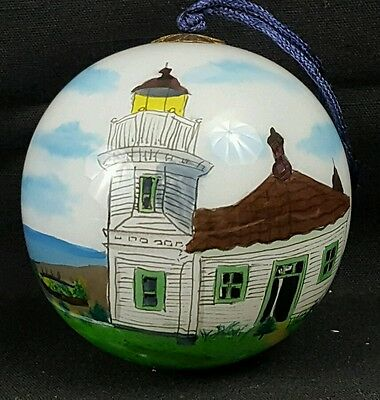 Christmas Ornament Interior Hand Painted Glass Mukilteo Lighthouse, WA State