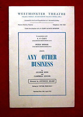 1958 Westminster Theatre Any Other Business Theatre Program London England msc3
