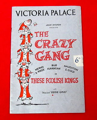 1956 Victoria Palace These Foolish Kings Theatre Program The Crazy Gang msc3