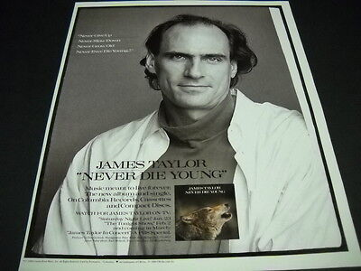 JAMES TAYLOR says Never Never Never Never DIE YOUNG 1988 PROMO POSTER AD mint
