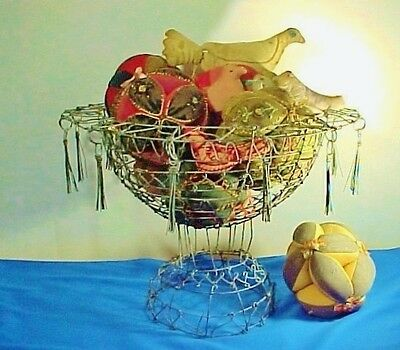 Vintage French Woven or Twisted Wire Basket with Tassels, Compote, Large Size