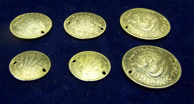 6 lot 1943   Australian - One Shilling , 6 pence, &  3 pence  SILVER - CONCAVED