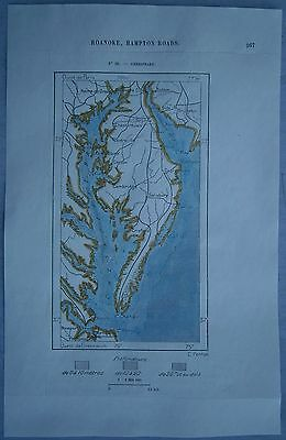 1892 Perron map CHESAPEAKE (DELMARVA PENINSULA), DELAWARE / MARYLAND / VIRGINIA