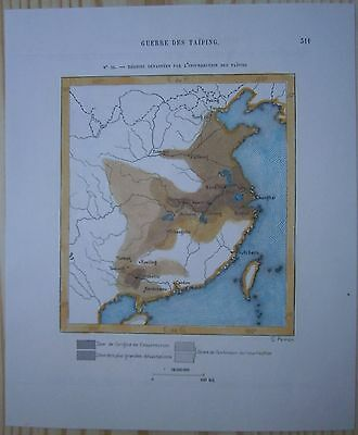 1882 Perron map LANDS WASTED BY THE TAIPING INSURRECTION, CHINA (#52)