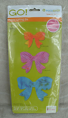 """Accuquilt GO! """"Bow"""" 2 1/2"""", 3 1/2"""", 4 1/2"""" Fabric Cutting Die #55341 ~ NEW"""