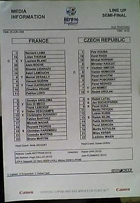 FRANCE v CZECH REPUBLIC 26/6/96 EURO 96 SEMI FINAL PRE MATCH TEAM SHEET + 2 MORE