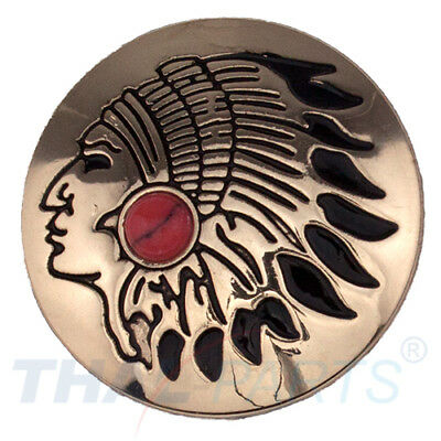 Concho #069 30mm Indiana Kopf Concho Gold mit Stein Rot Conchos Concha