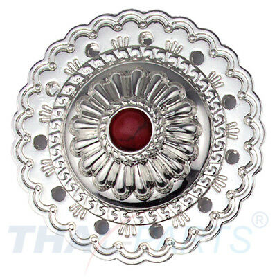 Concho #066 35mm Western Concho Jumbo Silber mit rotem Stein Conchos Concha