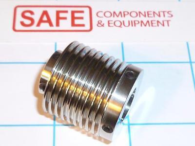 """SS Backlash Coupling Bellows Set Screw 1.1"""" L x 1"""" OD Bore A 0.5"""" to B 0.35"""" R32"""