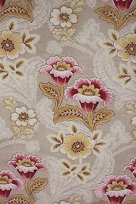 Vintage French faded floral c1900 cretonne pinks upholstery fabric