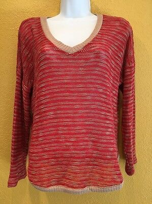 SPLENDID Size Medium Top Sweater V Neck Long Sleeves Soft Stretchy Anthrpologie