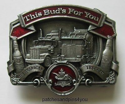 Bergamot 'This Bud's For You' 'The American Trucker' Pewter D-175 Belt Buckle