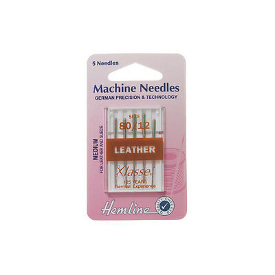 Hemline H104.80 | Med | Chisel Point Leather Sewing Machine Needles | 5pk 80/12