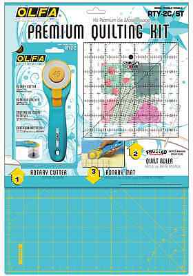 Olfa RTY-2C/STQR Aqua/Yello Quilting Kit R/L-Hand 45mm Rotary Cutter, Ruler, Mat