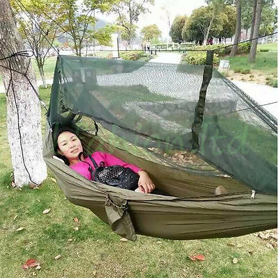 Quality Large Hammock Hanging Bed W/ Mosquito Net Sky Tent For Camping Hiking UK