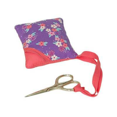 Small Purple Floral Pincushion Pillow with Scissors & Small Storage Pouch