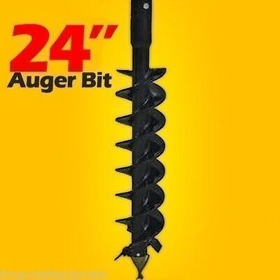 """24"""" Skid Steer Auger Bit,McMillen HDC,For Difficult Digging,4'Long,2"""" Hex Drive"""