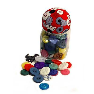 Practical Button Jar with Red Pin Cushion Lid & Transparent Glass Structure