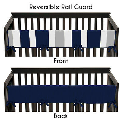 Navy Gray Stripes Long Front Rail Guard Baby Boys Teething Cover Crib Protector