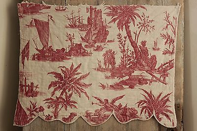 """Antique French toile de Nantes """" american pays homage to France"""" red 1783"""
