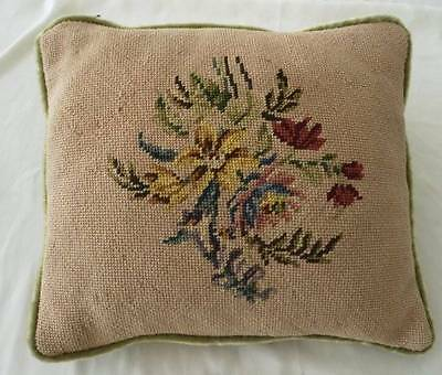 Vintage Wool Floral Needlepoint Embroidered Throw Pillow Crushed Velvet