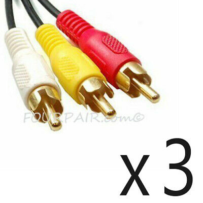 3 Pack Lot - 6FT Triple 3 RCA Red White Yellow Composite Audio Video Cable Gold