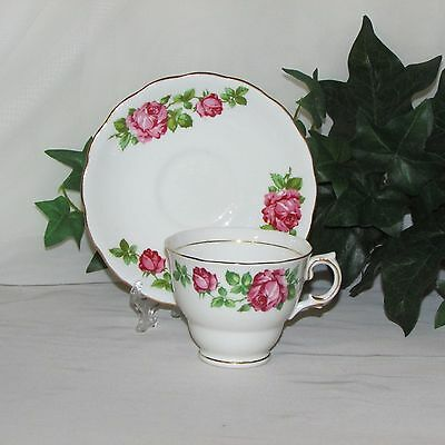 Colclough Footed Cup & Saucer Pink Roses Bone China England 6634 Bridal Teacup