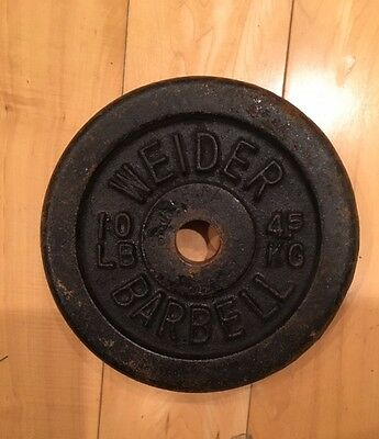 """Vintage Weider 1"""" 10 POUND PLATE FROM THE 70'S"""