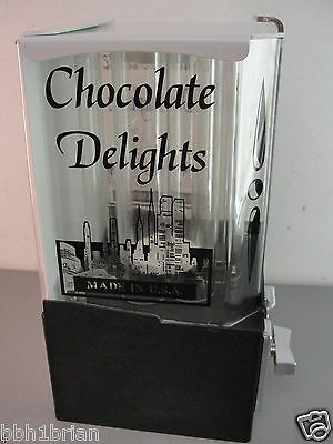 Chocolate Delights Hi Tech Mint Systems Acrylic Vending Machine Vintage 25¢