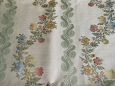 Vintage Mid Century Lisere Floral Jacquard Brocade Fabric ~ 18thc French Style
