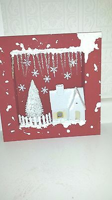 christmas red and white shadow box bottle brush tree putz house OOAK