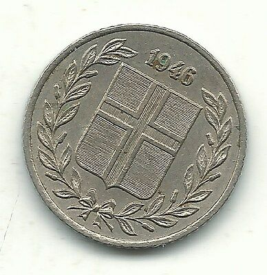 A Very Nice High Grade 1946 Iceland 25 Aurar Coin-Feb307