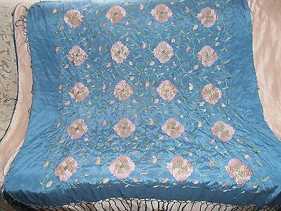 Antique Chinese Silk Embroidered FLOWERS Shawl circa 1940 Beautiful COLORS 42""