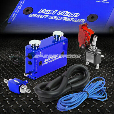 Blue Dual Stage Electronic Turbo/turbocharger Psi Boost Controller Kit/w Switch