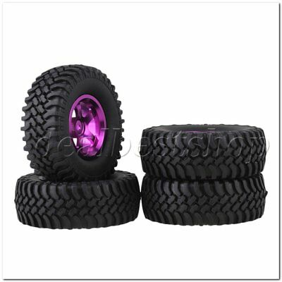 4PCS RC1:10 Rock Crawler Simulation Rubber Tyre&Purple Alloy 5 Spoke Wheel Rim