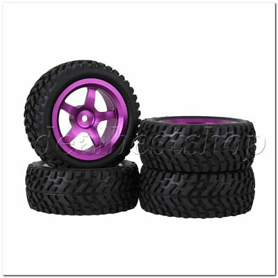 4PCS Purple Alloy 5-Spoke Wheel Rim Beard pattern Rubber Tyre for RC1:10 Car