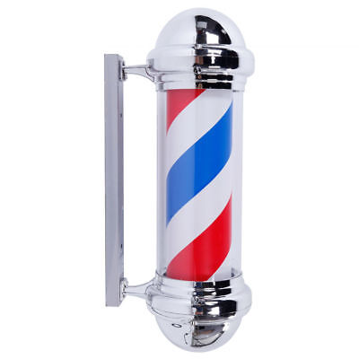 "28"" LED Barber Pole Light Red White Blue Stripes Rotating Sign Hair Salon Shop"