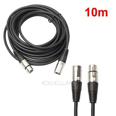 10m 3 Pin XLR Male to Female DMX Cables DJ Stage Lighting Extend Wire Cable Cord