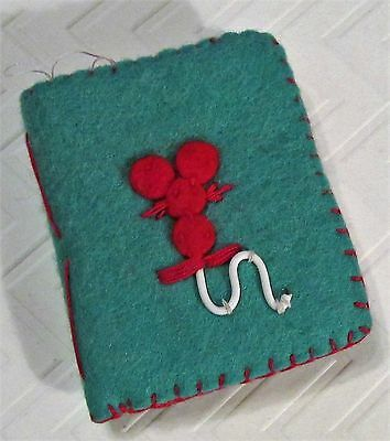 VTG Antique Handmade Felt Needle Case Sewing Book Mouse Sillhouette - Adorable!