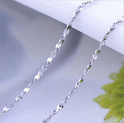Women Pure Solid 925 Sterling Silver Starry Chain Necklace