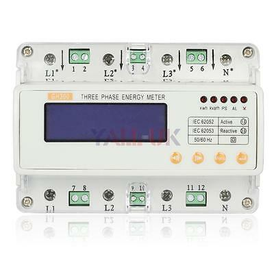 GHTS300 3-Phase Digital LCD Household Energy Electricity Power Meter Din Rail