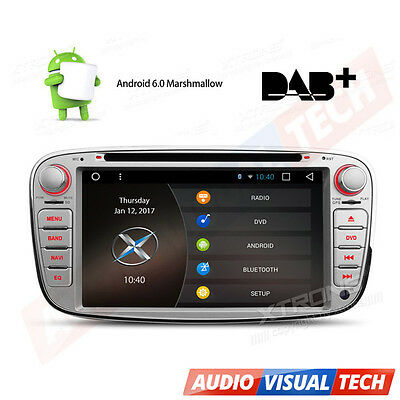 "7"" Android 6.0 Car DVD Player Stereo GPS DAB+ OBD2 WiFi Ford Mondeo Focus S-Max"