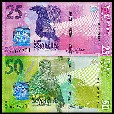Seychelles Set 2 PCS, 25 50 Rupees, 2016, P-NEW, NEW DESIGN, Bird, UNC