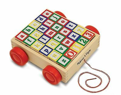 Melissa & Doug Classic ABC Wooden Block Cart Educational Toy With 30 Solid Wo...