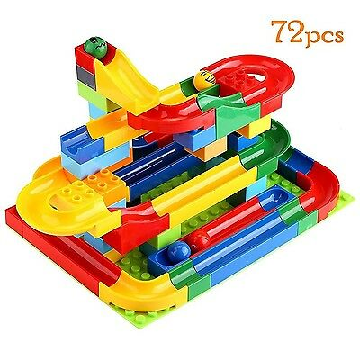 Hoyo Marble Run Coaster with Building Blocks and Race Marbles Marble Game Rac...