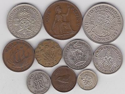 1937 Part Set Of 10 Coins In Good Fine Or Better Condition