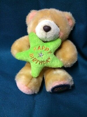 Forever Friends Bear - Holding A Green Star With Happy Birthday Message.